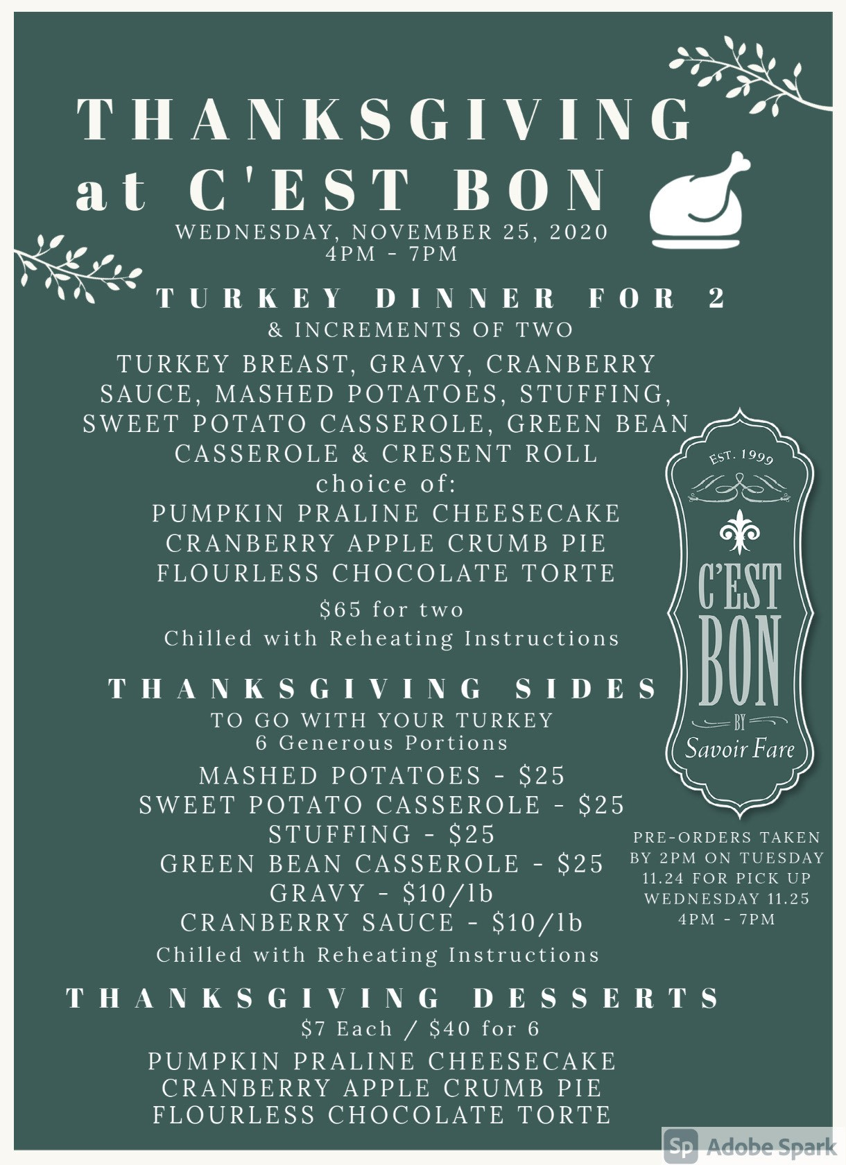 Thanksgiving Dinner at CEST BON